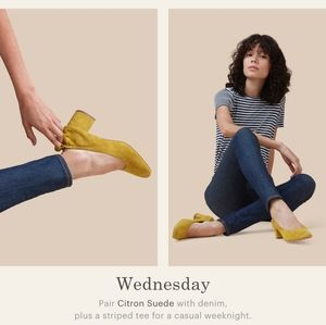 Everlane Day Heels Citron Suede mustard yellow